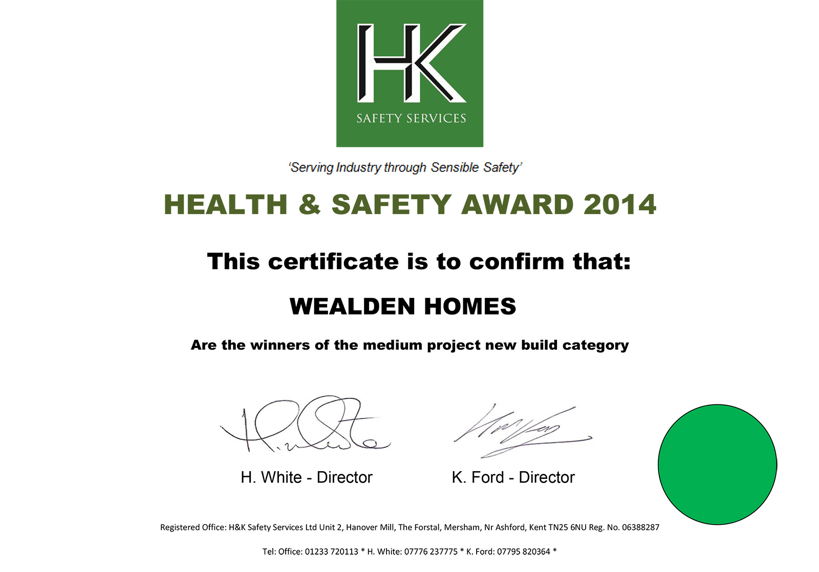 Health & Safety award