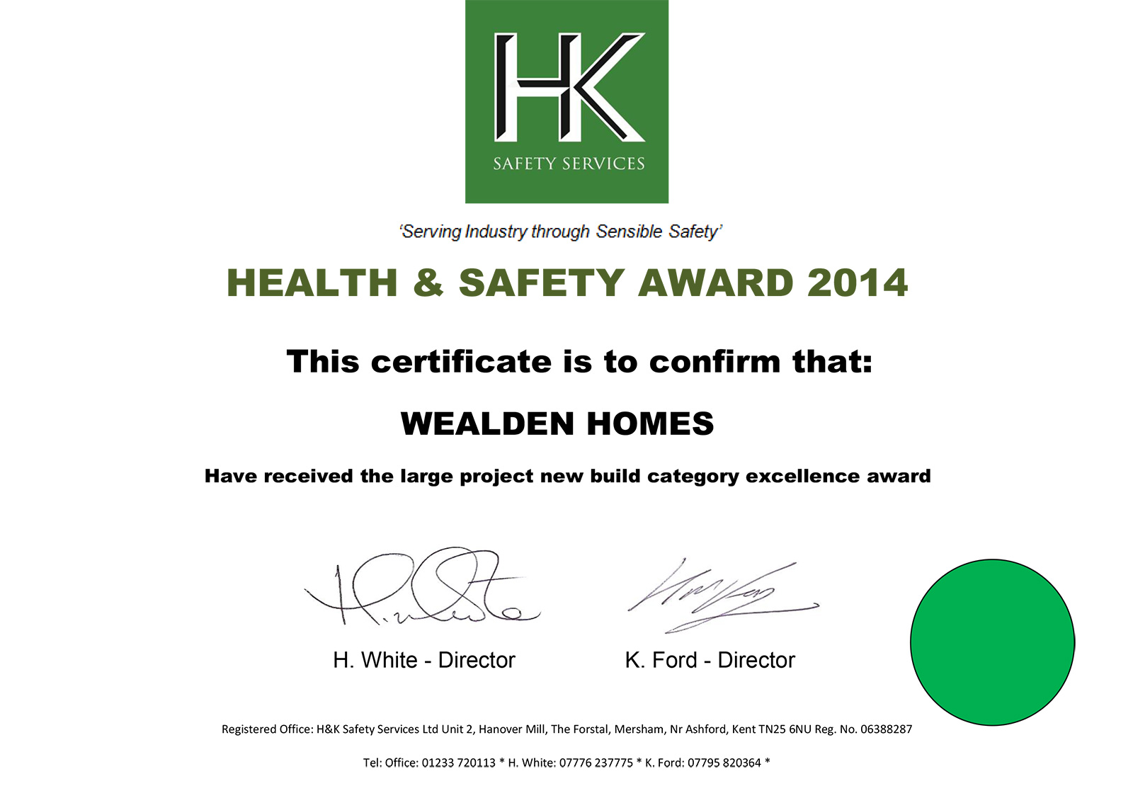Health and Safety Award 2014