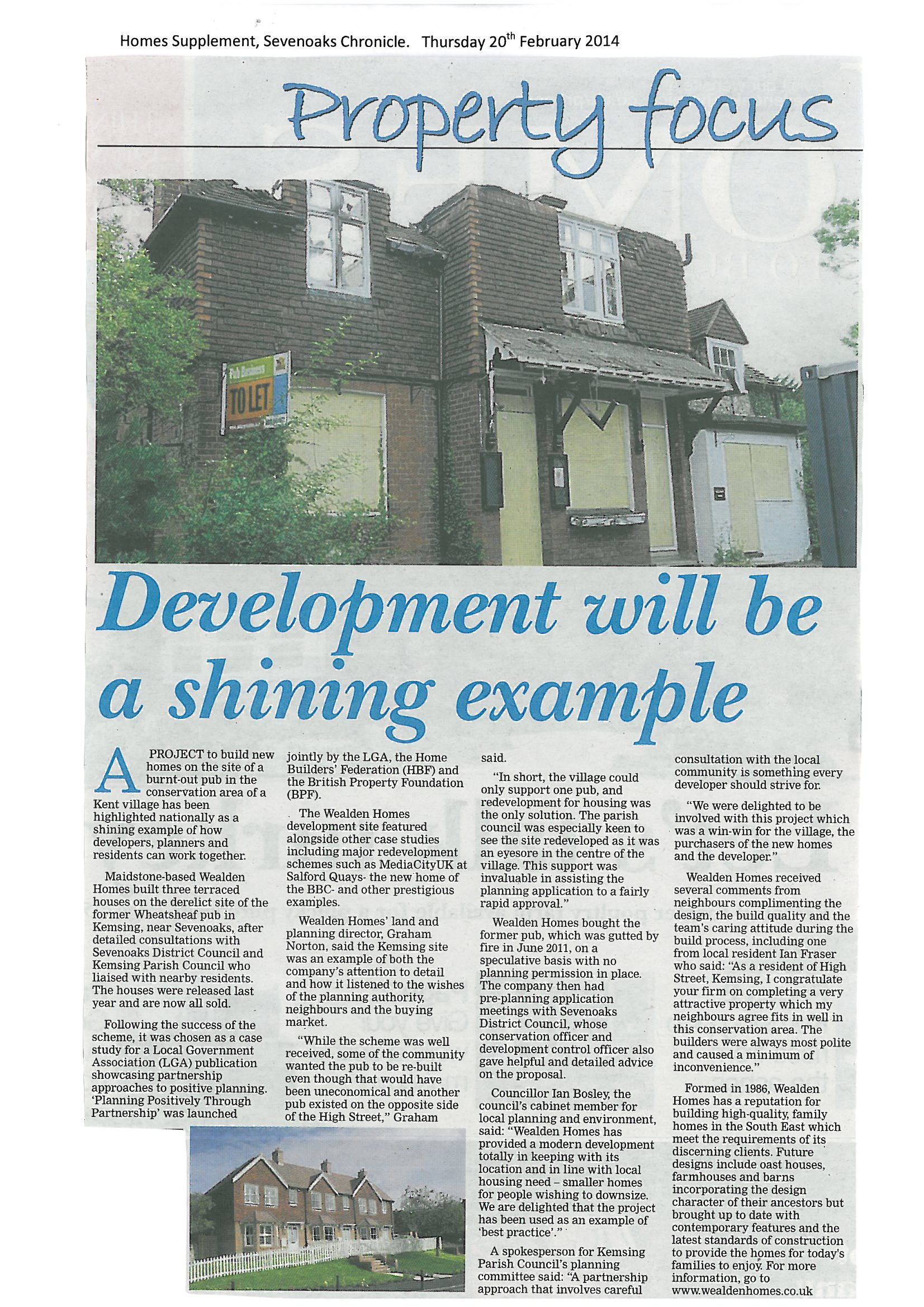 Sevenoaks Chronicle Feb 2014